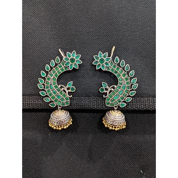 Fish design Real silver like Jhumka Earrings