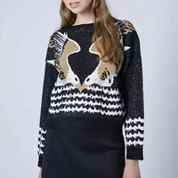 Black Eagle Knitted Pullover Sweater