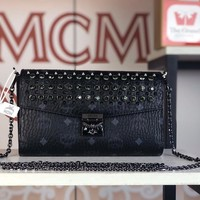 Kuyou Gb79810 Mcm Women's Patricia Black Crossbody Wallet In Studded Park Avenue Leather 23.5x13.5x5cm