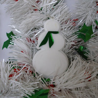 On Sale Snowman ornament green scarf white acrylic