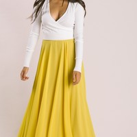 Petite Amelia Full Yellow Maxi Skirt