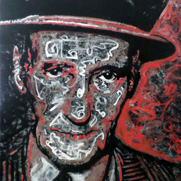 Large Pop Art Painting - William S. Burroughs - Statement Piece - Black and White and Red - Modern Art - Original Handpainted Art
