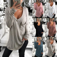 Sexy V-neck loose pocket bottom long sleeve T-shirt jacket for women
