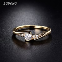 BUDONG Fashion CZ Zirconia Finger Rings for Women Wedding Jewelry Gold-Color Ring Engagement Mid Rings Eternity Bijoux XUR008