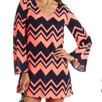 Bell Sleeve Chevron Shift Dress by Charlotte Russe - Navy Combo
