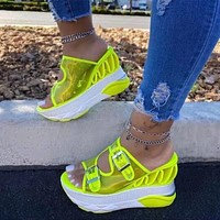 Summer sandals women's shoes new slope with transparent PU double buckle fluorescent color slippers