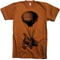 Mens Flying Turtle T Shirt - American Apparel Tshirt - XS S M L XL and XXL (28 Color Options)