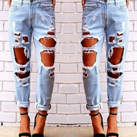 Light Blue Big Hole Design Boyfriend Jeans
