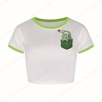 Green Bulbasaur Crop Tops Pokemon Cheerleader Bare-midriff Tops Cartoon Pattern Womens White Short Sleeve T Shirt Summer Casual