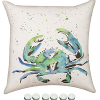 """Manual Woodworkers SLPSC8 Painted Sea Life Crab Climaweave Outdoor Indoor Pillow 18""""x18"""" with 6-Pack of Tea Candles"""