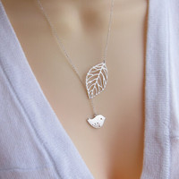 Leaves birds tassel necklaces