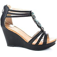 Act1 By Top Moda, Strappy Rhinestone Studded Flower Platform Wedge Sandals