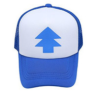 Dippers Blue Pine Tree hat Gravity Falls Baseball Cap Adjustable Size Velcro Back