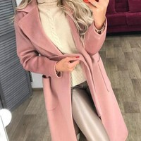 New Pink Pockets Belt No Buttons Formal Elegant Casual Coat