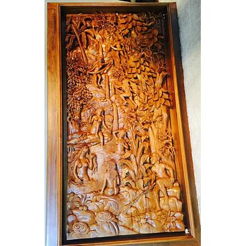 Ramayana Carve from Indonesia /Hand Carved Teak Wood Sculpture