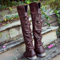 sz 6 Little Bow Chic Tall Brown Riding Boots