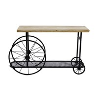 Industrial Design Sofa Console Table With Wooden Top And Metal Wheels Base, Sand Black By Furniture Of America