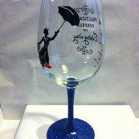Mary Poppins is Practically Perfect in Every Way Glitter stem wine glass