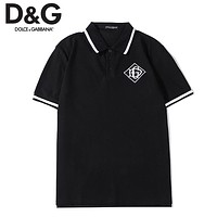Dolce & Gabbana New fashion embroidery letter lapel couple top t-shirt Black