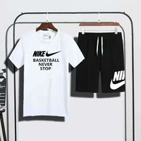 """NIKE """"basketball never stop"""" print short sleeve top shorts suit two piece suit sportswear H-AHXF"""