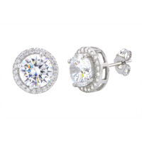 Sterling Silver Large Round Halo Cubic Zirconia Stud Earrings Micropave 11mm
