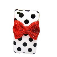 niceeshop(TM) White Sweet Polka Dots Pattern Red Bling Bow TPU Case Cover Skin for iPod Touch 4 4th+Screen Protector