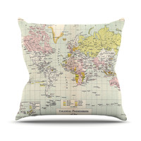 "Catherine Holcombe ""Travel"" World Map Throw Pillow"