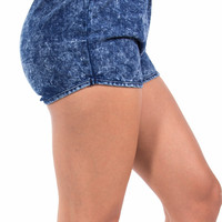 Dark Stretch Denim Track Shorts