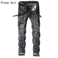2017 Direct Selling Special Offer Zipper Fly Mid Fashion, Head Embroidery, Men's Jeans, Small Straight Tube, Stretch, Trousers