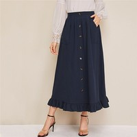 Abaya Navy Button Front Ruffle Hem Skirts Womens High Waist Solid Flared A Line Casual Long Skirt