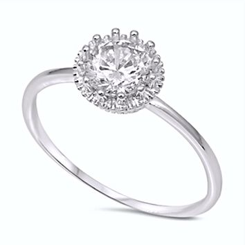 .925 Sterling Silver Solitaire Engagement Ladies Ring Size 4-10 Round Cut 1 carat