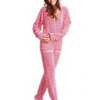 Candy Stripes Adult Footed Onesuit Pajamas