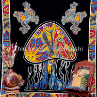 Forest Mushroom Tapestry , Mushroom Frog Hippie Hippy Tapestry. Psychedelic Indian Tapestry Wall Hanging Throw Bedspread