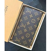 LV Louis Vuitton Fashion Hot Handbags Long Zipper Wallet for Men and Women LV pattern coffee