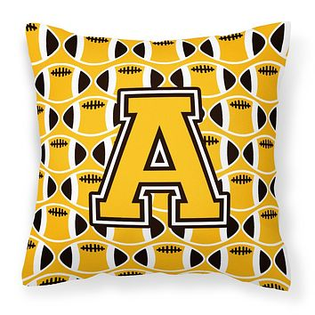 Letter A Football Black, Old Gold and White Fabric Decorative Pillow CJ1080-APW1414