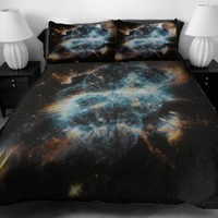 Anlye Brown Bedding set Galaxy Duvet Cover Galaxy Sheets Space Sheets Outer Space Top sheet with Couple Pillow Covers Full