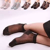 Fashion Women Ladies Summer Sheer Silky Glitter Transparent Ankle Socks Hot Sexy Socks