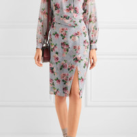 Topshop Unique - Aubrey draped floral-print silk crepe de chine dress