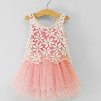 baby dress BIG SALE 2,3,4,5,6,7years 2pcs toddler girl dress lace outer pink tutu inside