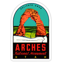 'Arches National Monument Utah Moab Vintage Travel Decal' Sticker by hilda74