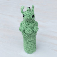 Crochet UFO Bottle cozy Baby bottle sleeve For kids Crochet cozy Bottle cover Whimsical Light green Willow green