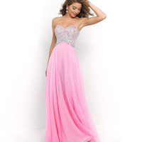 Bubblegum Pink Strapless Sweetheart Beaded Bodice Chiffon Gown
