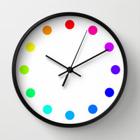clock dots - color option white Wall Clock by Steffi Louis Finds&art