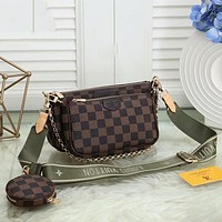 Louis Vuitton LV Hot Three-piece Set Fashion Lady Messenger Bag Shoulder Bag Coin Purse Cosmetic Bag