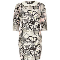 River Island Womens Grey floral jacquard shift dress