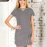 Black and White Stripe Asymmetric Hem Bodycon Dress