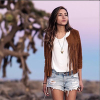 Casual Light Brown Long Sleeve Fringed Jacket