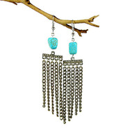 Turquoise / Silver Chandelier Earrings, Silver Tassel Earrings, Turquoise Howlite Beads, Silver Chain Tassels, Upcycled Vintage