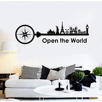 Vinyl Wall Decal Travel Quote Tourism Decor Art Stickers Murals Unique Gift (ig4911)