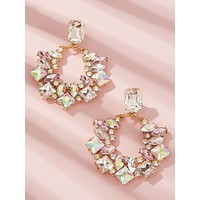 1pair Rhinestone Engraved Hoop Drop Earrings